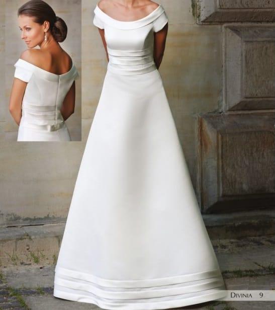 Margarett Divina A Line Satin Wedding Dress