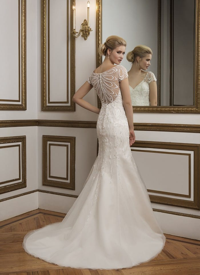 Justin alexander intricate beaded back cap sleeve for Sell wedding dress online