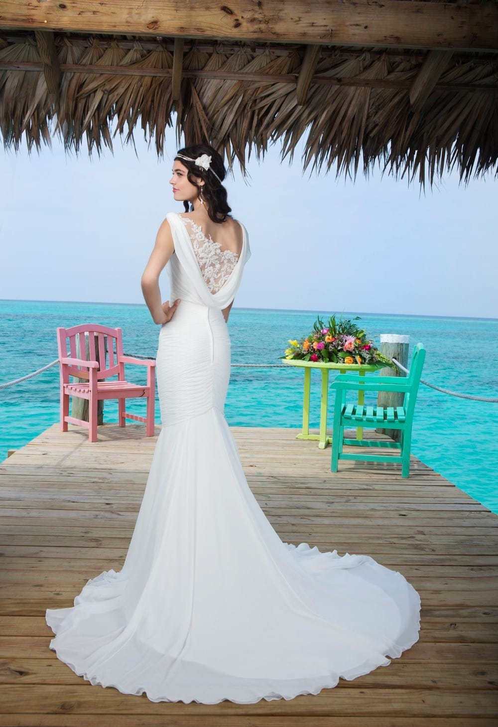 Stunning mermaid Justin Alexander chiffon gown - Sell My Wedding ...