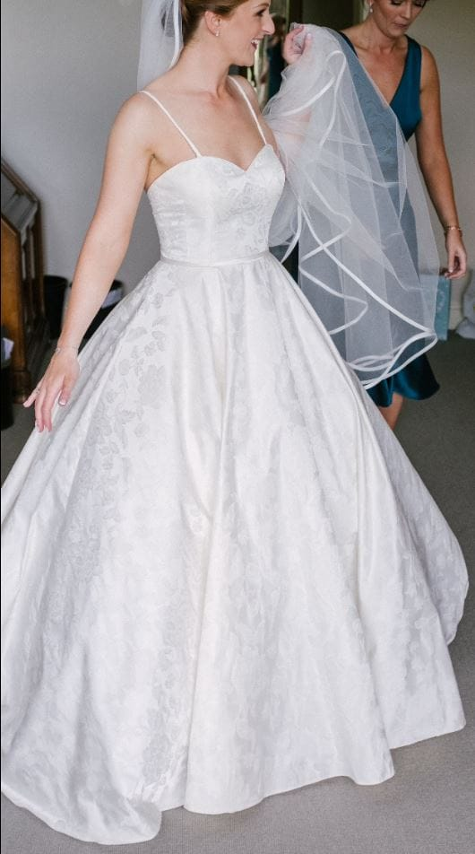 Custom made, one of a kind Lou Lou Bridal ballgown with romantic rose pattern