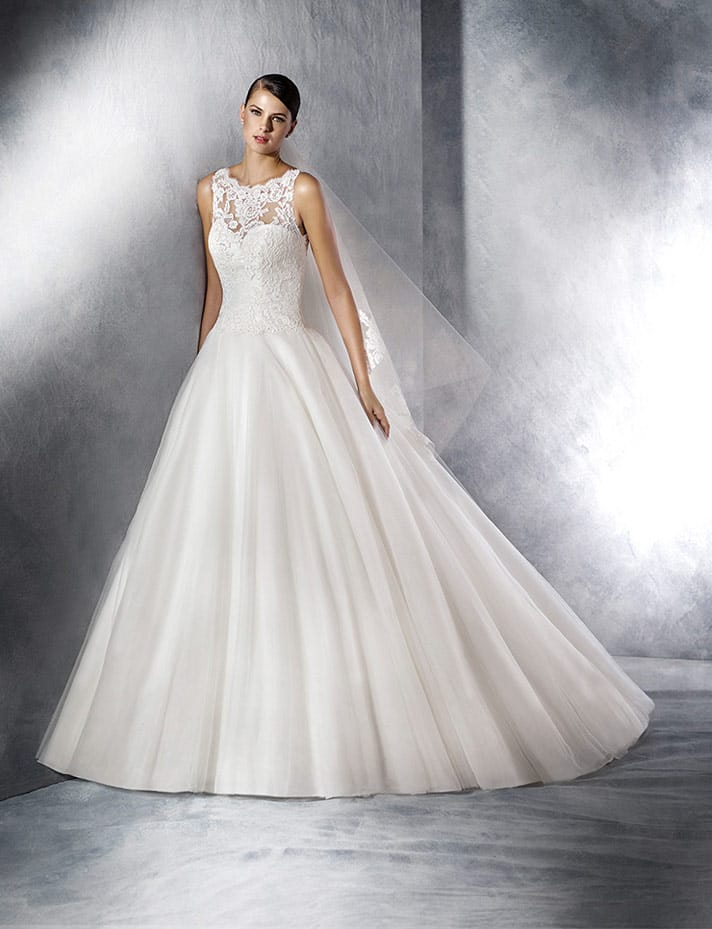 White One by Pronovias Jill - tulle, lace & gemstone gown - Sell My ...
