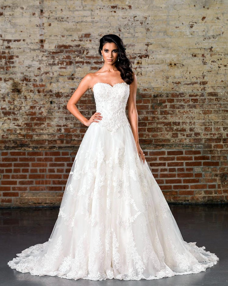Justin Alexander 9860 lace gown with sequin underlay