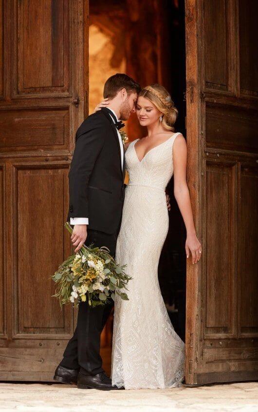 Essense Of Australia D2317 Embellished Bridal Gown Boho Style B