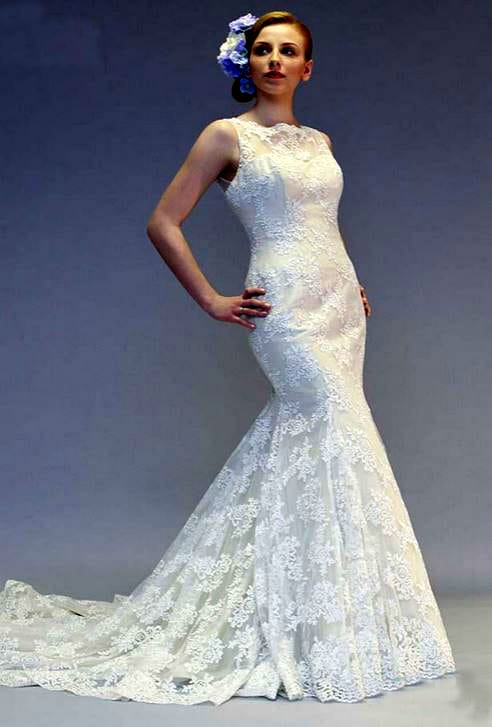 White Rose R858 Antique Gold Lace Fishtail Wedding Dress