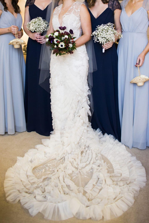 Lazaro 3454 Ruffle Illusion Wedding Gown Sell My Wedding