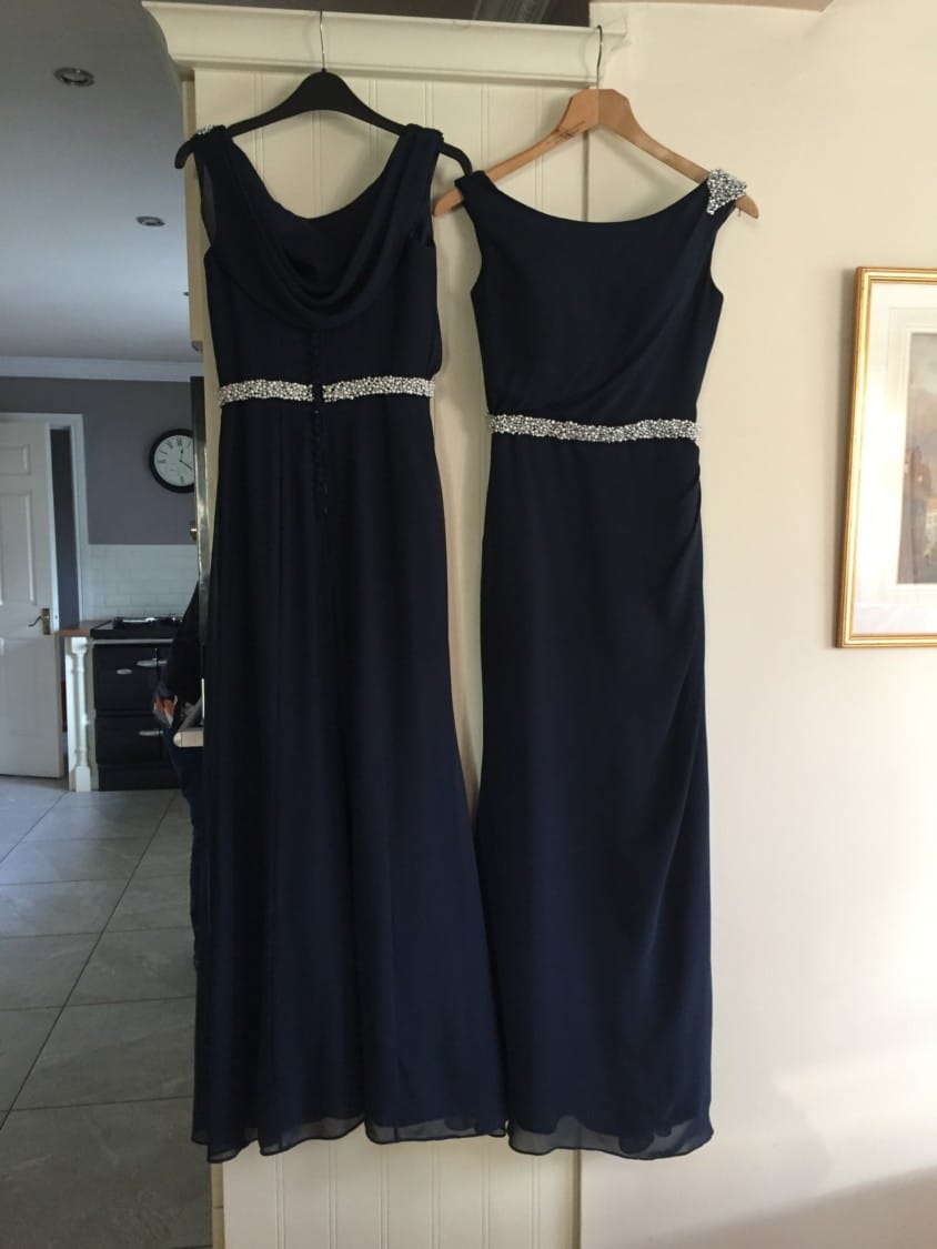 True Bride navy chiffon bridesmaid dresses