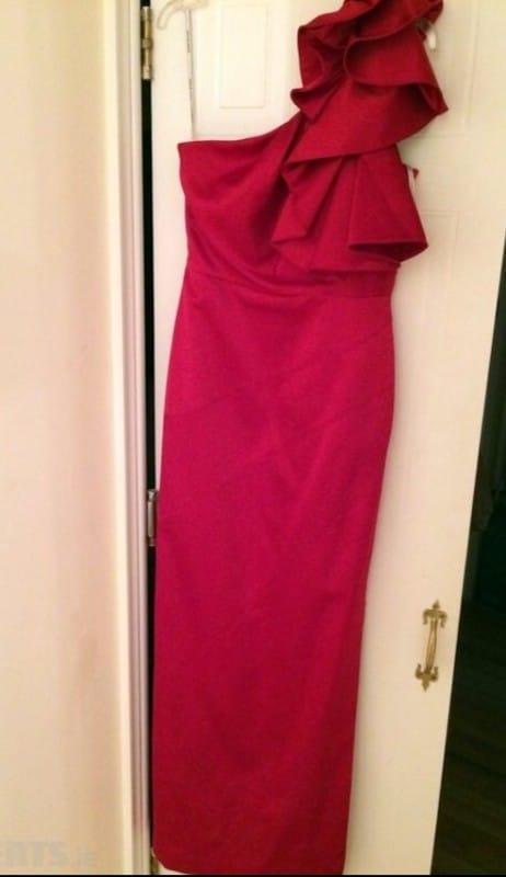 Karen Millen red full length bridesmaid dress