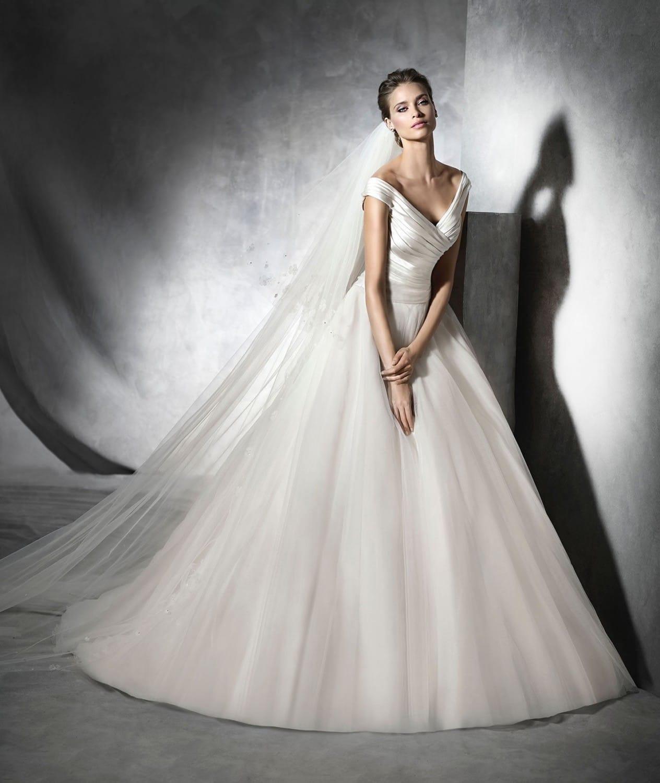 Pronovias Presta Off The Shoulder Princess Gown