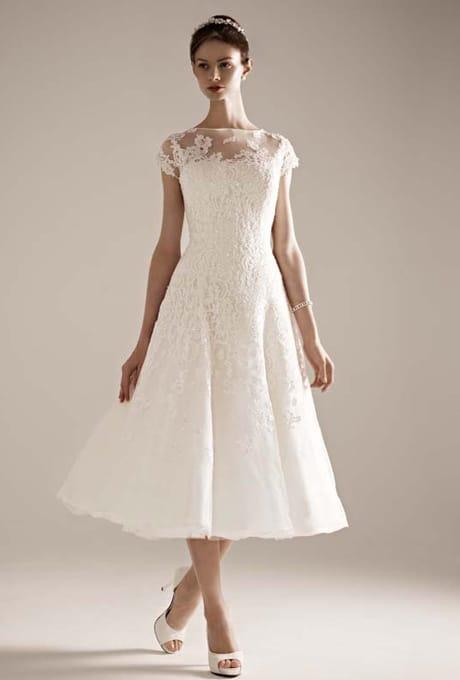 Oleg Cassini tea length wedding gown