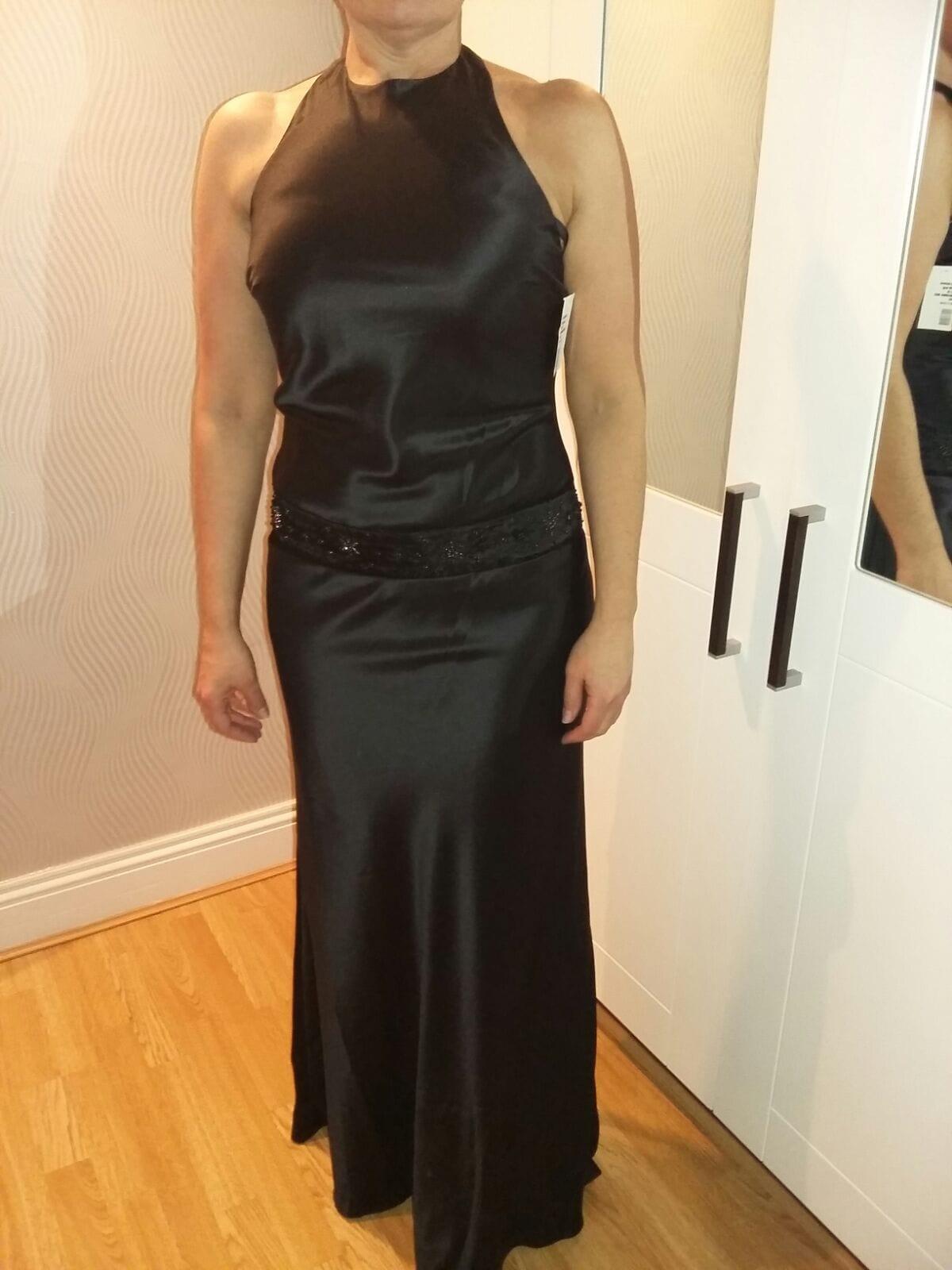 Bridal Heaven black satin bridesmaid dress