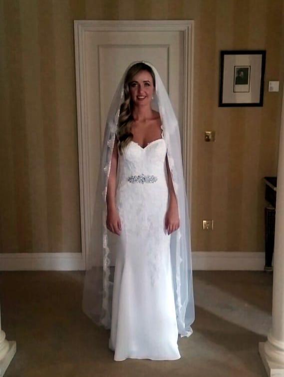 Essense of Australia lace cap sleeve wedding dress