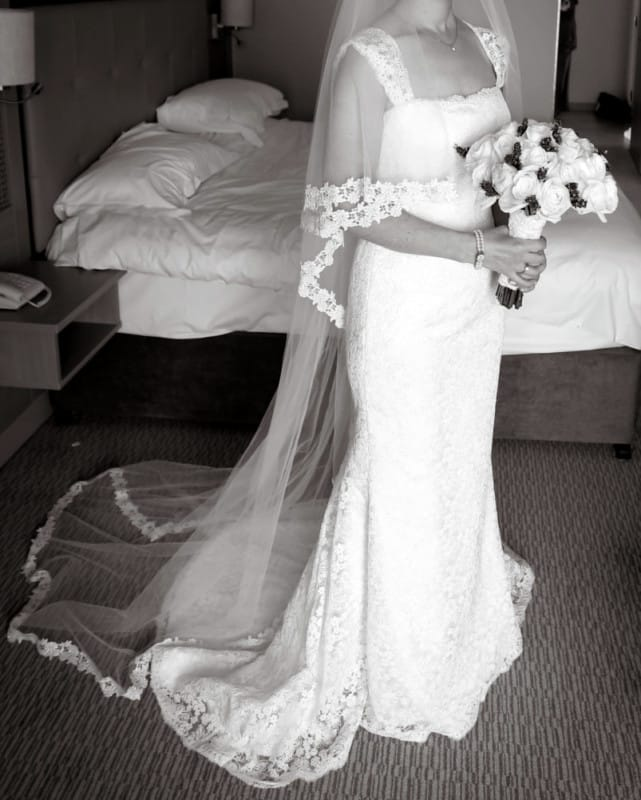 Sassi Holford stunning column style French corded lace gown