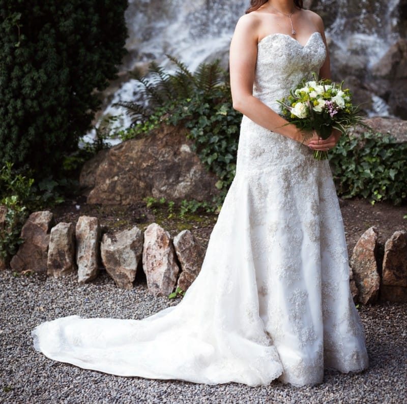 Strapless lace & satin wedding gown