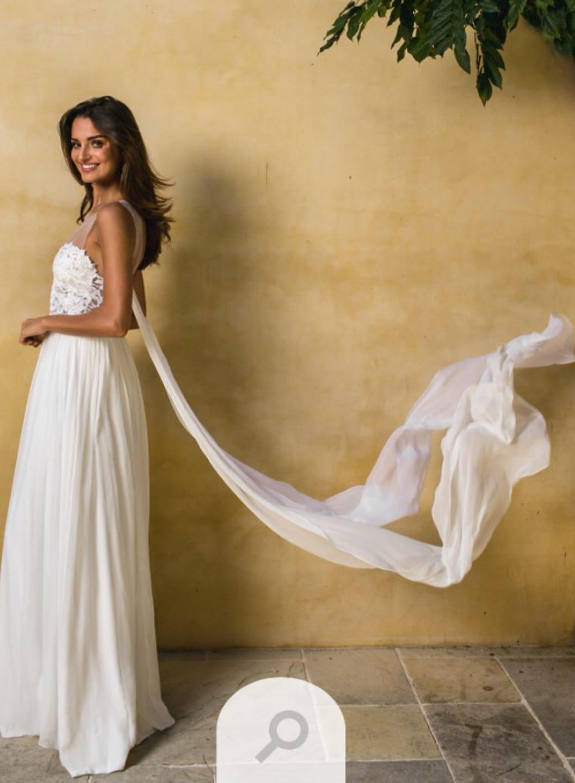 Bespoke Chiffon Ivory Wedding Dress for expectant bride