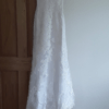 Stella York white fit & flare lace gown