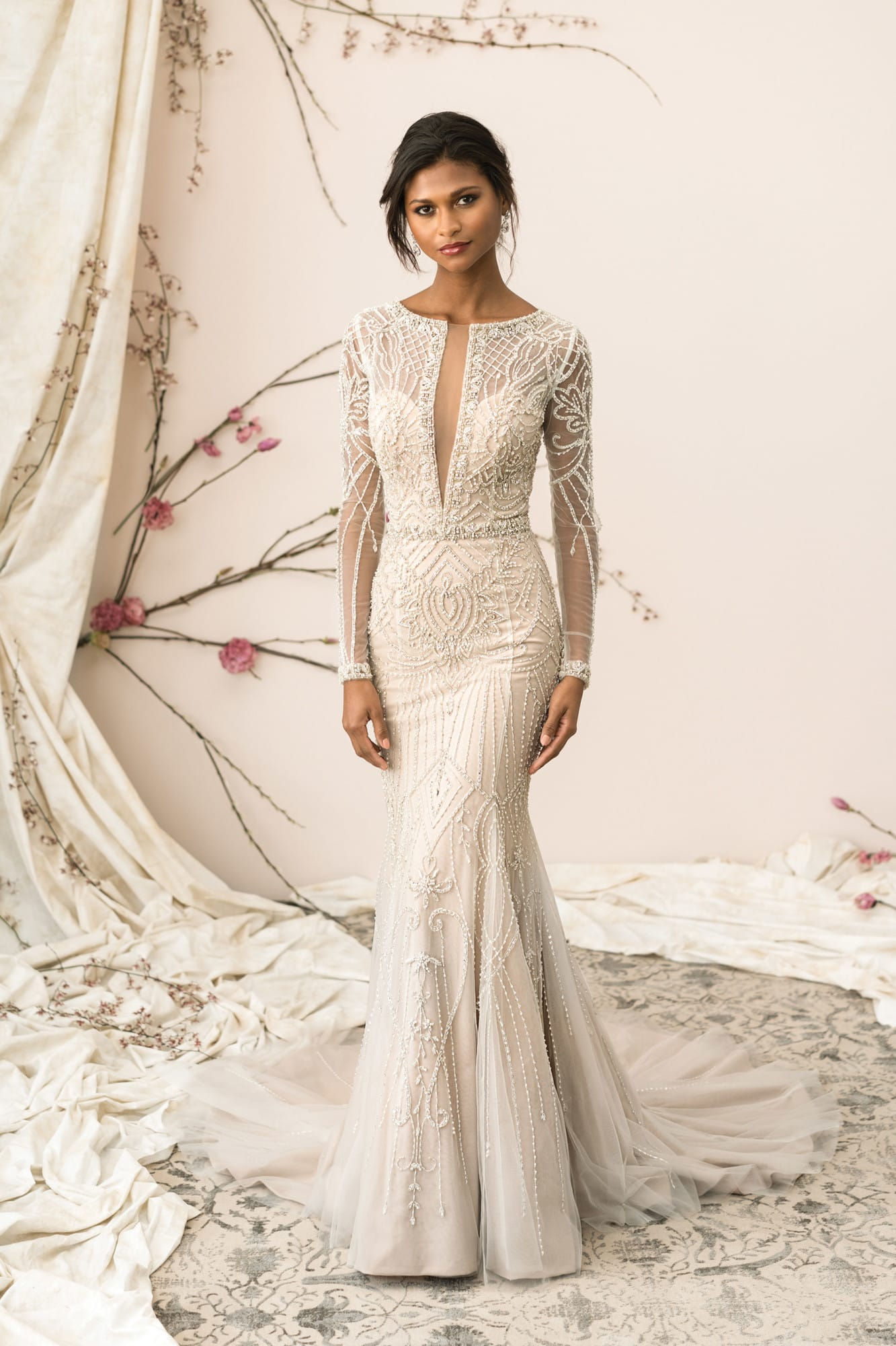 Justin Alexander 9894 from the 2019 Collection – Plunging V neck, all over beaded fit & flare gown