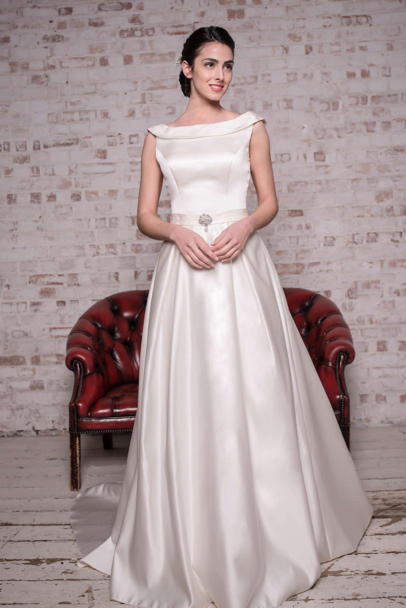 Angel B AB007 – Brand New, Bardot neckline, A-line, full length ivory satin gown