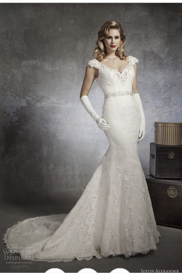 Justin Alexander 8654 Regal Beaded V-Neck in Venice Lace