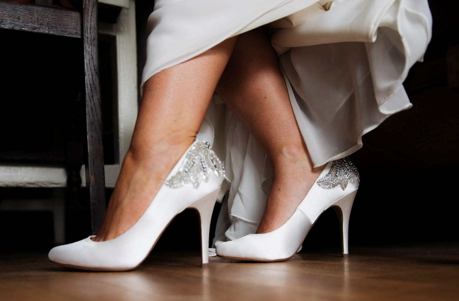 Wedding shoes, matching veil and low back strapless bra