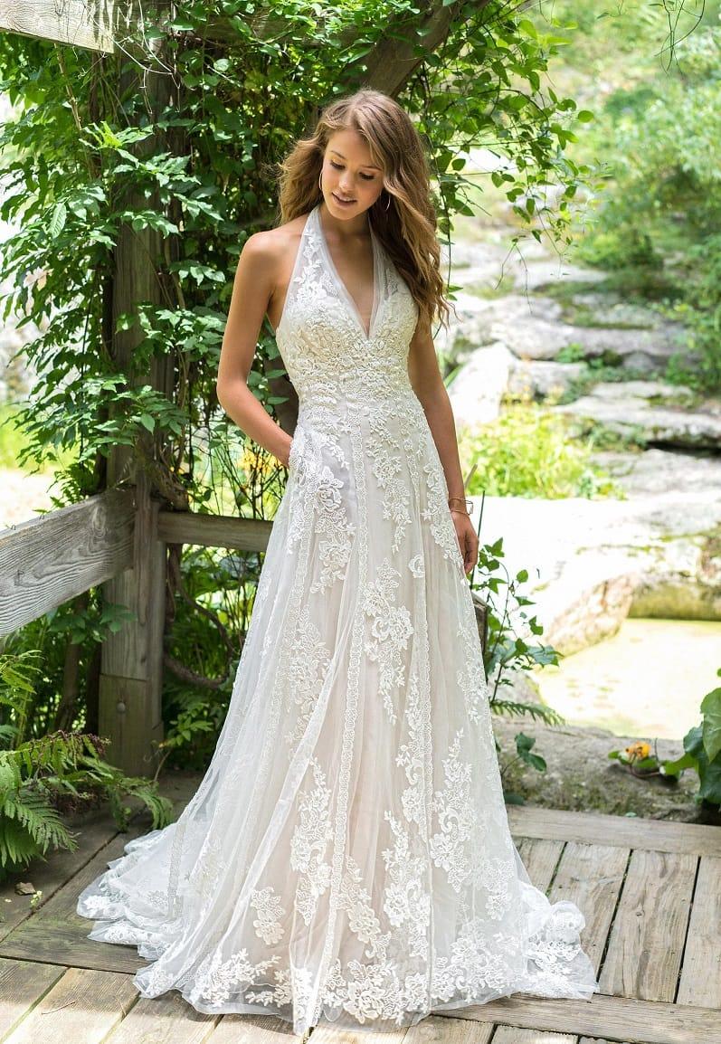Lillian West 66017 Illusion A line lace gown