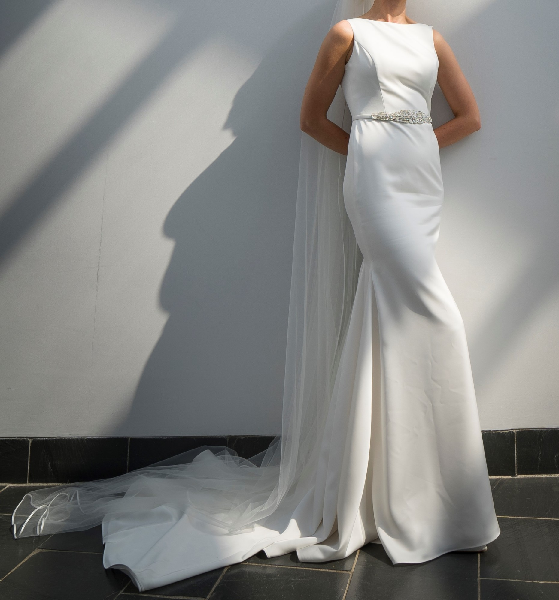 Paloma Blanca 4801 Wedding Dress with beaded belt & back detail