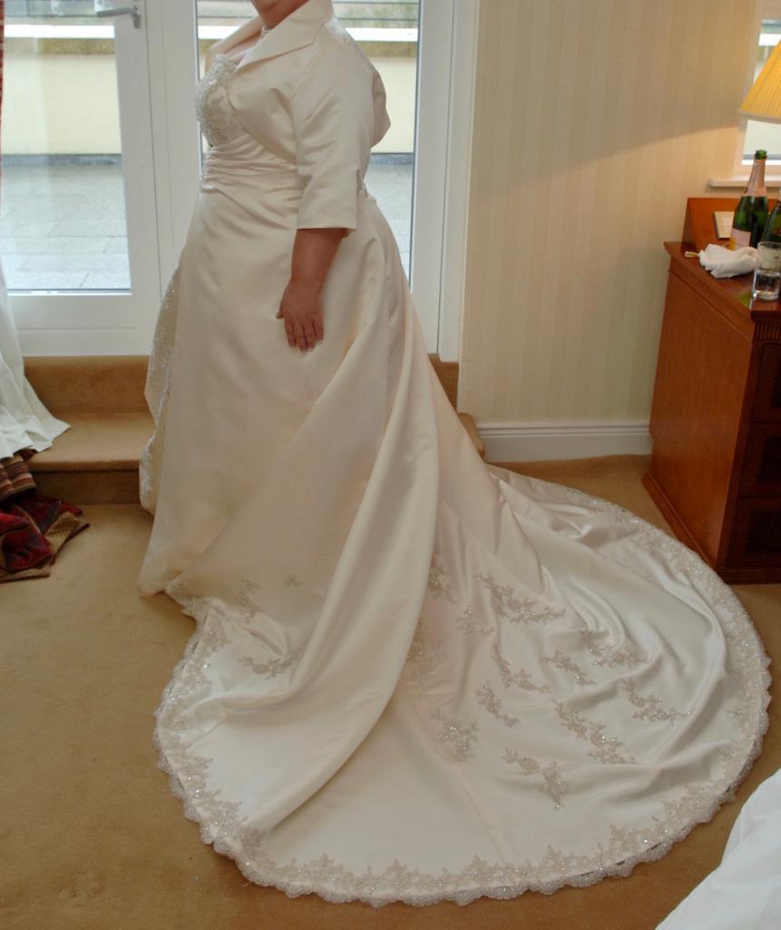 Champagne strapless ballgown style dress