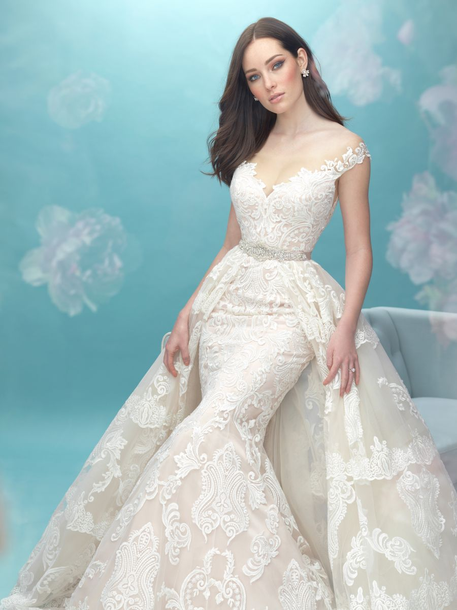 Allure Bridal Wedding Dress with Detachable Over-skirt
