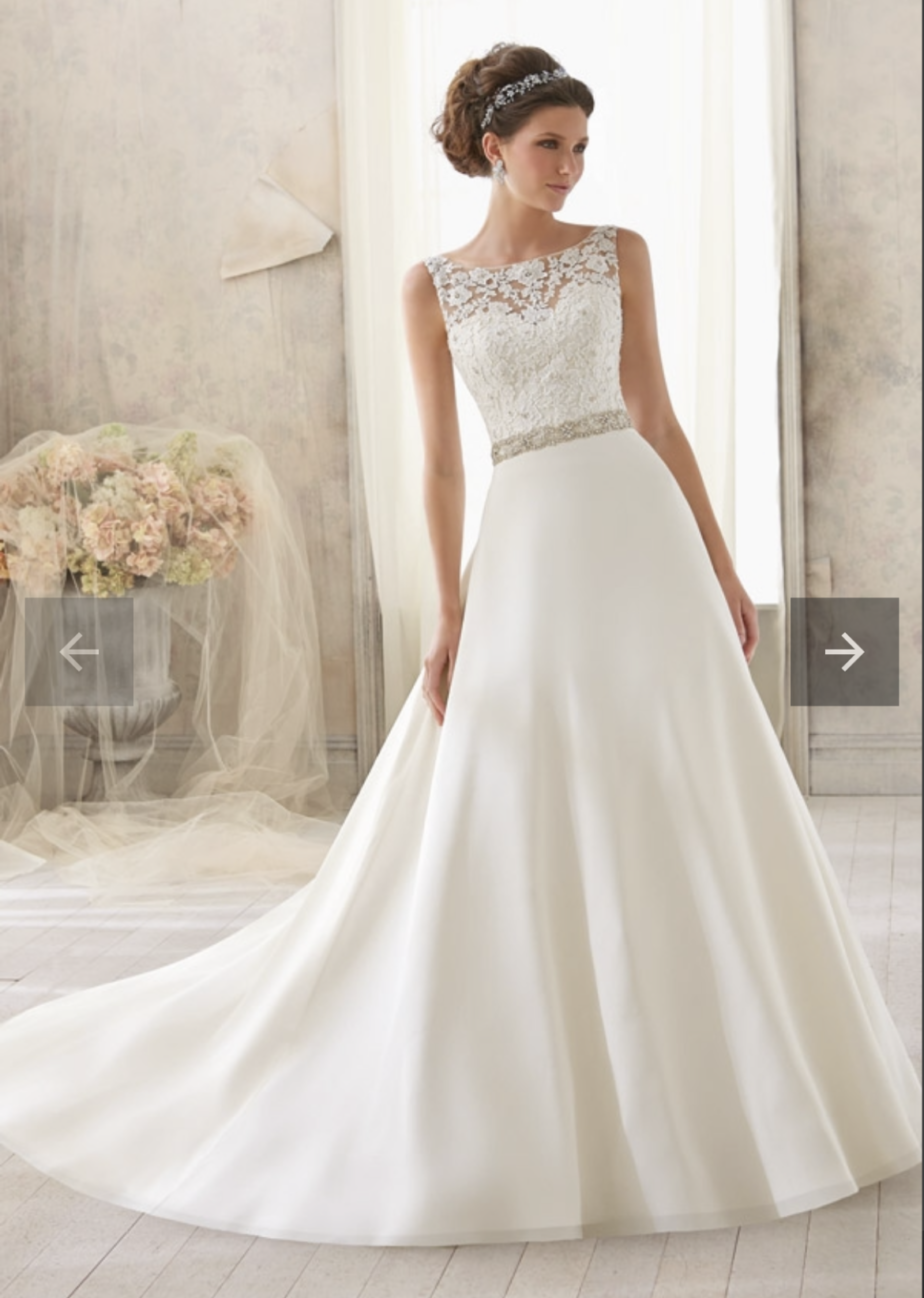Unworn – Venice lace trimmed with crystal beading on delicate chiffon – Morilee Bridal wedding dress