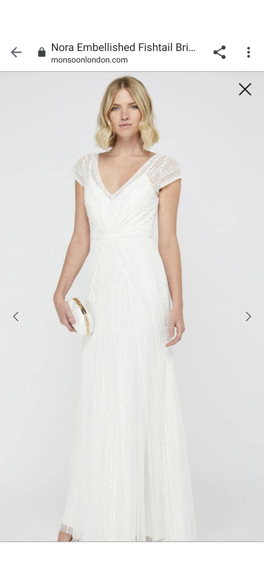 Monsoon Nora Embellished Fishtail Wedding Dress