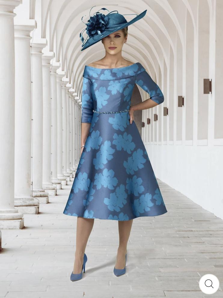 Irresistible Low-Hi Off the Shoulder Dress in teal floral