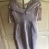 John Charles – Short fitted dress with sleeves.  Matching hat. Silver bag and matching size 6 shoes